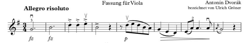 Bindebögen verbinden die Töne. Die Geige wird schön singen.